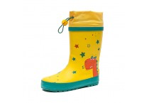 Children's Rubber Boots with Adjustable Front String Gumboot with Printing