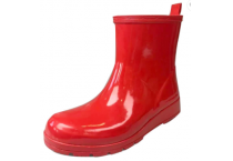 Fashion Waterproof Red Ladies Rain Boots With Cotton Lining