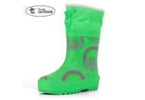 Kids Rainbow Rubber Rain Boots With Warm Collar