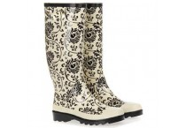 Women Vine Print Long Rubber Raining Boots