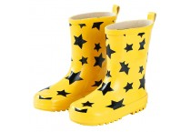 Yellow Natural Rubber Boots with Black Stars Printing for Children
